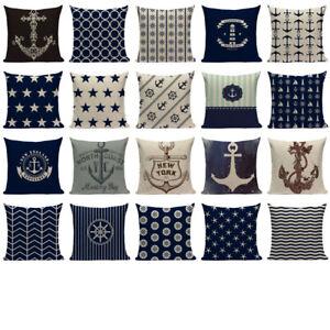 nautical throw pillows Velvet Anchor Sea Style Decorative  Cushion Case Cover
