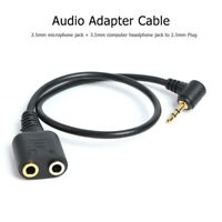 Black 2.5mm Plug To 3.5mm Headphone+Mic Jack Adapter Cable For Panasonic PRKU JA