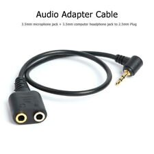 Black 2.5mm Plug To 3.5mm Headphone+Mic Jack Adapter Cable For Panasonic PhoneJC