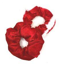 2 x Christmas Hair Scrunchies Red Velvet Hair Accessories Girls Hair