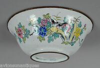 Qing Dynasty Chinese Canton Enamel Bowl Flowers Birds Butterfly