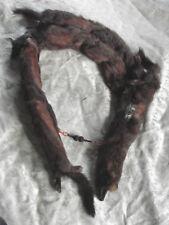 Vtg 40s 50s Fur Wrap Stole Eyes Paws Tail Lucite Chain Snap Vgc Tippet 4 pelts