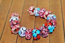 15 pc set Handcrafted Fine Lampwork Glass Beads- Flowers, Swirls 12mm-  A2124c