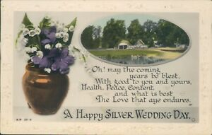 Real photo silver wedding anniversary message rotary 1944