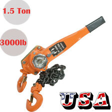 PRO 1-1/2 TON LEVER BLOCK HOIST CHAIN RATCHET COME ALONG CHAIN HOIST TOOL
