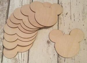 Pack of 10 unpainted laser cut wood Mickey Mouse shapes 2 sizes 0, 1 or 2 holes