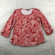 Chico's Size 0 (S) Red White Floral Top Blouse Scoop Neck 3/4 Roll Up Sleeve