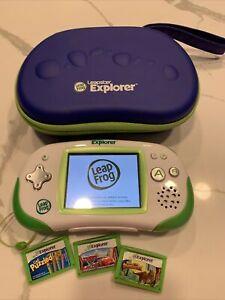 Leapfrog Leapster Explorer Learning Handheld Game System Green -Case - 3 Games
