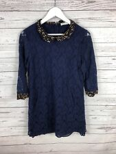 WHISTLES Lace Dress - UK12 - Navy - Great Condition - Women's