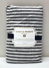 NEW Pottery Barn TEEN Emily & Meritt Ruffle Stripe STANDARD Sham~Charcoal~Ivory