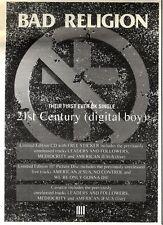 "4/2/95PGN20 BAD RELIGION : 21ST CENTURY (DIGITAL BOY) SINGLE ADVERT 7X5"""
