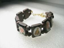 """Wooden Inlaid Blessed Mother, Madonna Wooden Bracelet, 7.5"""", Pink Rose Accents,"""