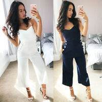 Womens Culotte Jumpsuit Playsuit Ex Quiz Cream & Navy Ladies Sizes UK New ❤