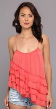 "FREE PEOPLE Women's Coral ""Flutter By"" Asymmetrical Ruffled Top Sz M NWT 78"