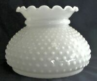 """7"""" Fitter Crimp Top Hobnail White Opal Milk Glass Student Lamp Replacement Shade"""