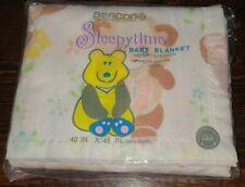 Vtg Beacon Baby Blanket Sleepytime Teddy Bear Satin Trim NEW NOS 40x45 Polyester