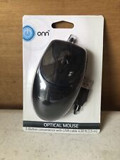 ONN Model # ONA19H0041 USB Black Optical Mouse With 3 Button Design. Free Ship!