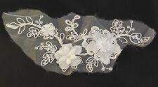 ivory bridal beaded lace Applique wedding floral lace motif on organza per piece