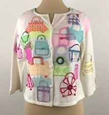Michael Simon Cardigan Sweater Size Medium Colorful Purses Button Front Ivory