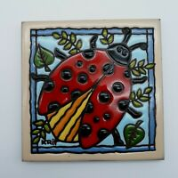 "Earthtones Ceramic/Pottery Tile or Trivet with Big Ladybug  6"" x 6""--Signed Krit"