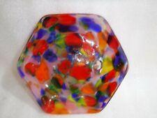 Unusual Vintage Colourful Decorative Glass Bowl / Dish    20 x 4 cm ....Rare