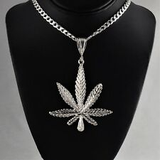 "Large 3 3/4"" Heavy Solid 925 Sterling Silver Cannabis Leaf Marijuana Pendant"