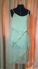 Short Green Silk Floaty Summer Party Dress With Diamante Detail UK 8-10
