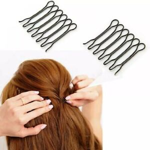 U Shaped Bun Hair Pin Clip Grips Brown Wavy Salon Invisible Hairpins