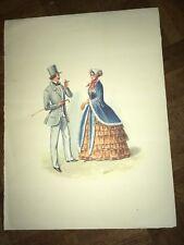 6 superbes  reproductions de gravures du moniteur de la mode vers 1850