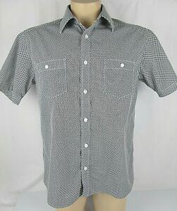 Quiksilver Black & White Checked Short-Sleeve Shirt - Size M Men's