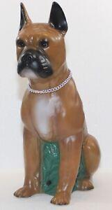 Figur Hund Boxer sitzend H 40 cm Gartenfigur mit Scherz Bewegungsmelder Wau-wau