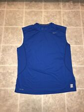 Nike Pro Combat Fitted Blue Sleeveless Men's Shirt Sz Xxl Excellent Condition