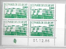 Yvert service n° 93 - Conseil de l'Europe 1986 - Neuf** BLOC DE 4 COIN DATE