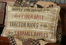 BINGHAM STAR Orchard Sign Pillow Burlap tan Rustic Ruffle Farmhouse VHC Brands