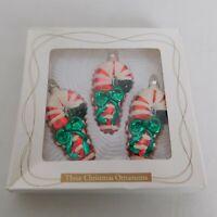 Candy Cane Christmas Ornaments Blown Glass 3 Box Bradford Novelty Vintage 1999