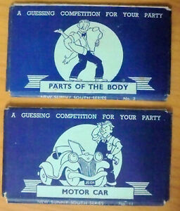 New Sunny South Series No 2 Parts of the Body + No 11 Motor Car - Party Games