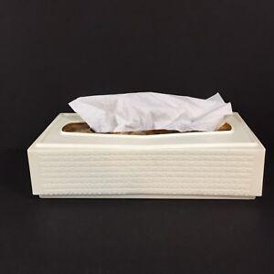 Vintage Plastic Tissue Box Cover Cream Off-White Basketweave Design Faux Wicker