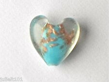 5 belles turquoise sable d'or lampwork verre style murano coeur perles 20mm G8