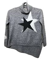 Marbled Star Turtleneck Pullover Knit Sweater Size S With Star Jacquard Design