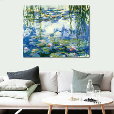 Framed Large Canvas Print Monet Painting Repro Home Decor Wall Art Water Lilies