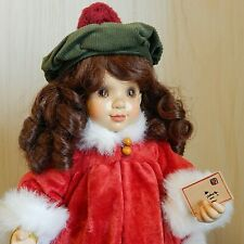 """VICTORIA Sarah Kay/ANRI 15"""" Jointed Wood Doll in Christmas Oufit, Ltd Ed 203/750"""
