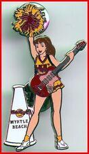Hard Rock Cafe MYRTLE BEACH 2003 CHEERLEADER PIN Sexy Girl Guitar Pom-Pom #17181