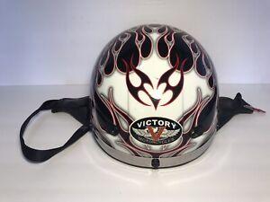 Victory 'Flames' Black Motorcycle Half Helmet 2007 Large