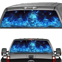 Rear Window Decal Flaming Skull Halloween Horror Monsters Scary Car Stickers