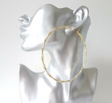 """Gorgeous HUGE gold tone twisted sparkly big oversized hoop earrings, 4"""" - 10cm"""