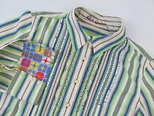 Robert Graham Womens M Green Blue Striped Contrast Pleated Embroidered Shirt