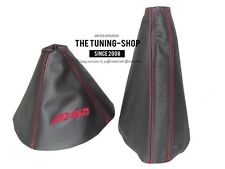 "For Mazda MX-5 MK3 05-12 Gear & Handbrake Gaiter Leather ""MX-5"" Red Embroidery"