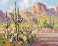TOM HAAS (b.1952) 'Prickly Pear Crossing' oil 11x14 Arizona saguaro Peralta Pass