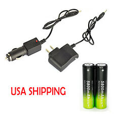 Battery Li-ion 18650 Rechargeable Battery For Headlamp Torch +AC/Car Charger @