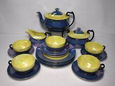 CZECHOSLOVAKIA china PHOENIX 20-piece BLUE & YELLOW Tea or Dessert Set - Teapot